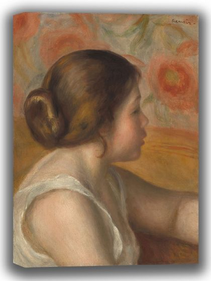 Renoir, Pierre Auguste: Head of a Young Girl. Fine Art Canvas. Sizes: A4/A3/A2/A1 (003958)